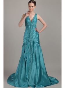 Teal A-line V-neck Brush Train Taffeta Beading and Ruch Prom / Evening Dress