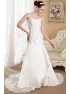 Affordable A-Line / Princess Strapless Brush Train Elastic Wove Satin Appliques Wedding Dress
