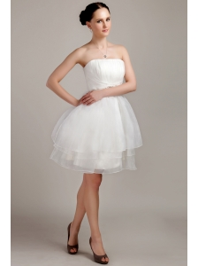 Perfect A-line / Princess Strapless Mini-length Organza Beading and Ruch Short Wedding Dress