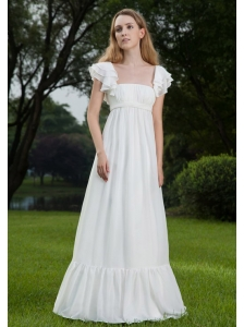 Brand new Empire Square Floor-length Chiffon Ruch Wedding Dress