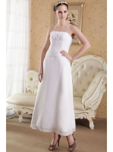 Simple Empire Strapless Ankle-length Satin and Chiffon Ruch Wedding Dress