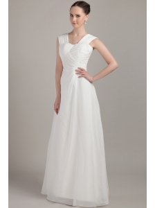 White Empire Straps Floor-length Chiffon Ruch Bridesmaid Dress