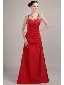Wine Red Column / Sheath Spaghetti Straps Floor-length Taffeta Beading Prom Dress