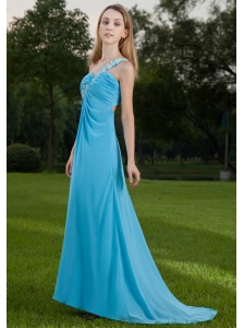 Baby Blue Empire One Shoulder Brush Train Chiffon Appliques and Ruch Prom / Celebrity Dress