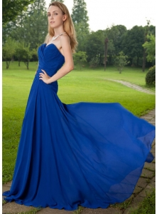 Blue Empire Sweetheart Brush Train Chiffon Ruch Prom Dress