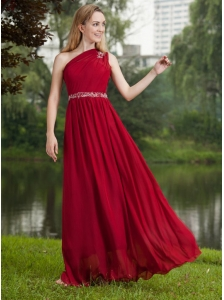 Wine Red Empire One Shoulder Floor-length Chiffon Beading Prom Dress