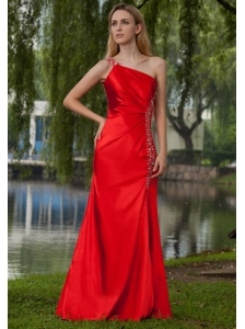 Red Empire One Shoulder Floor-length Taffeta Beading Prom Dress