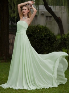 Apple Green Empire Strapless Brush / Sweep Chiffon Prom Dress