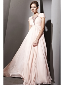 Light Pink Empire Square Floor-length Chiffon Beading and Ruch Prom / Celebrity Dress