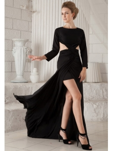 Black Column Scoop Brush Train Chiffon Long Sleeves Prom Dress