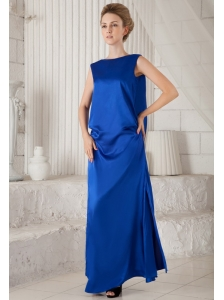 Blue Column Bateau Ankle-length Elastic Woven Satin Prom Dress