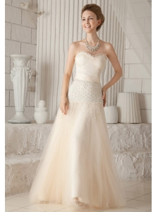 Champagne A-line / Princess Sweetheart Floor-length Tulle and Satin Beading Prom / Pageant Dress