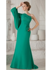 Turquoise Column One Shoulder Long Sleeve Brush Train Chiffon Beading Mother of the Bride Dress