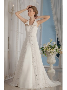 Formal A-Line / Princess V-Neck Court Train Lace Beading Wedding Dress