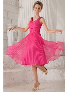 Hot Pink Empire Straps Tea-length Organza Pleat Prom / Homecoming Dress