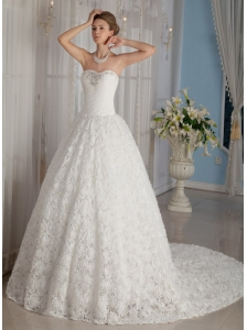Luxurious A-Line / Princess Sweetheart Chapel Train Fabric Rolling Flowers Beading Wedding Dress