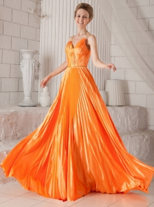 Orange Red Empire Spaghetti Straps Court Train Elastic Woven Satin Pleat Prom Dress