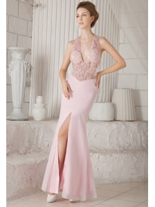 Baby Pink Column V-neck Floor-length Chiffon Appliques Prom / Evening Dress
