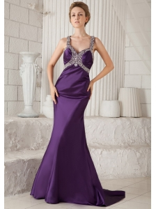 Eggplant Purple Mermaid Straps Brush Train Taffeta Beading Prom Dress