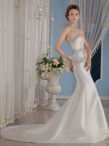 Sexy Mermaid / Trumpet Sweetheart Court Train Satin Beading Wedding Dress