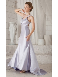 Lilac Column Straps Brush Train Satin Beading Prom / Celebrity Dress