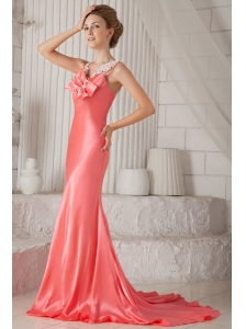 Watermelon Column Spaghetti Straps Brush Train Elastic Woven Satin Beading Prom / Celebrity Dress