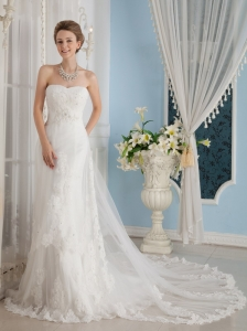 Wonderful A-Line / Princess Sweetheart Chapel Train Lace Appliques Wedding Dress