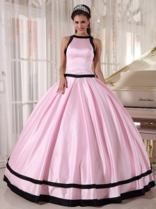 Affordable Baby Pink and Black Quinceanera Dress Bateau Satin Ball Gown