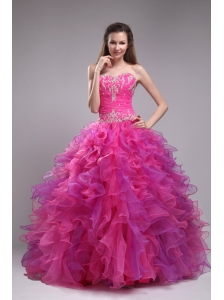 Affordable Fuchsia Quinceanera Dress Sweetheart Orangza Appliques Ball Gown