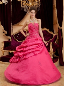 Beautiful Coral Red Quinceanera Dress Strapless Taffeta Appliques Ball Gown