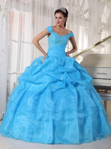 Beautiful Sky Blue Quinceanera Dress Off The Shoulder Taffeta and Organza Beading Ball Gown