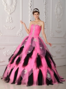 Beautiful Pink and Black  Quinceanera Dress Strapless Organza Appliques A-Line / Princess