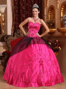 Brand New Hot Pink Quinceanera Dress Sweetheart Satin Embroidery with Beading Ball Gown
