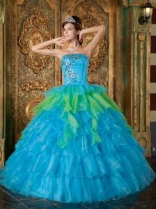 Cheap Blue Quinceanera Dress Strapless Organza Ruffles Ball Gown