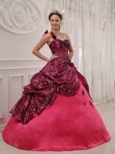 Cheap Hot Pink Quinceanera Dress One Shoulder Zebra or Leopard Appliques Ball Gown