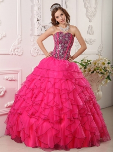 Cheap Hot Pink Quinceanera Dress Sweetheart Organza Beading Ball Gown