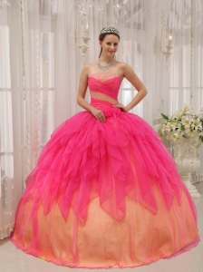Discount Hot Pink Quinceanera Dress Strapless Organza Beading Ball Gown
