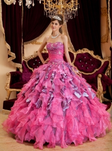 Discount Hot Pink Quinceanera Dress Sweetheart Beading Leopard and Organza Ball Gown