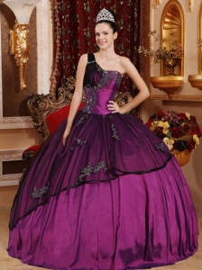 Discount Purple Quinceanera Dress One Shoulder Taffeta and Organza Beading and Appliques Ball Gown