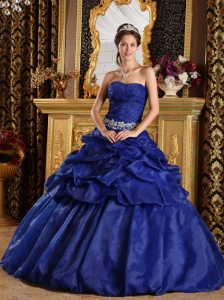 Discount Royal Blue Quinceanera Dress Strapless Pick-ups Taffeta Ball Gown