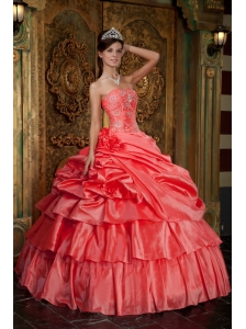 Discount Watermelon Quinceanera Dress Strapless Taffeta Beading Ball Gown