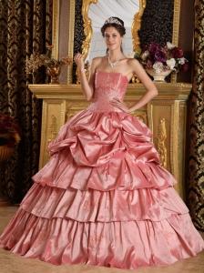 Discount Watermelon Red Quinceanera Dress Strapless Taffeta Beading Ball Gown