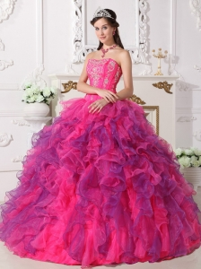 Elegant Hot Pink and Purple Quinceanera Dress Sweetheart Satin and Organza Embroidery Ball Gown