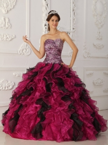 Elegant Multi-color Quinceanera Dress Sweetheart  Leopard and Organza Ruffles Ball Gown