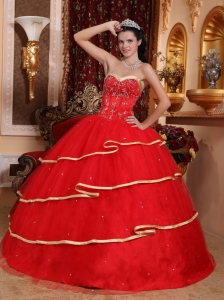 Elegant Red Quinceanera Dress Sweetheart Satin and Tulle Beading Ball Gown