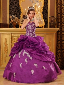 Formal Fuchsia Quinceanera Dress Strapless Organza Appliques Ball Gown