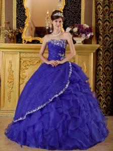 Gorgeous Bule Quinceanera Dress Strapless Organza Appliques Ball Gown