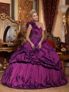 Informal Purple Quinceanera Dress One Shoulder Taffeta Beading Ball Gown