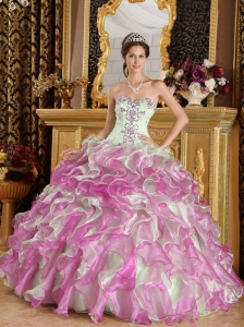 Latest Fuchsia and Apple Green Quinceanera Dress Sweetheart Organza Appliques Ball Gown