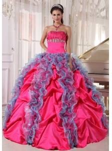 Lovely Hot Pink and Aqua Blue Quinceanera Dress Strapless Organza and Taffeta Beading and Ruffles Ball Gown